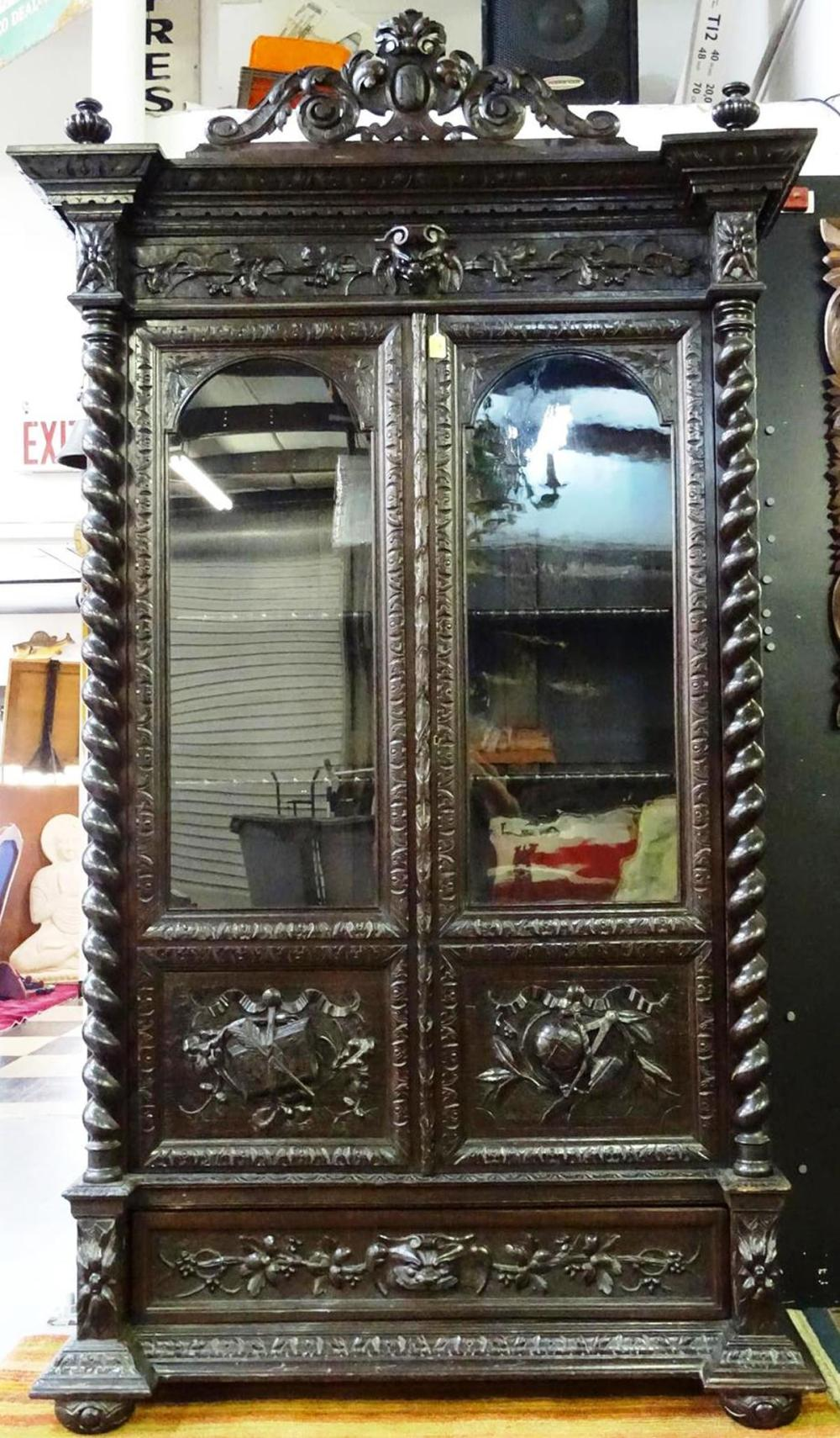 19TH C. FRENCH HUNTING CABINET - BOOKCASE