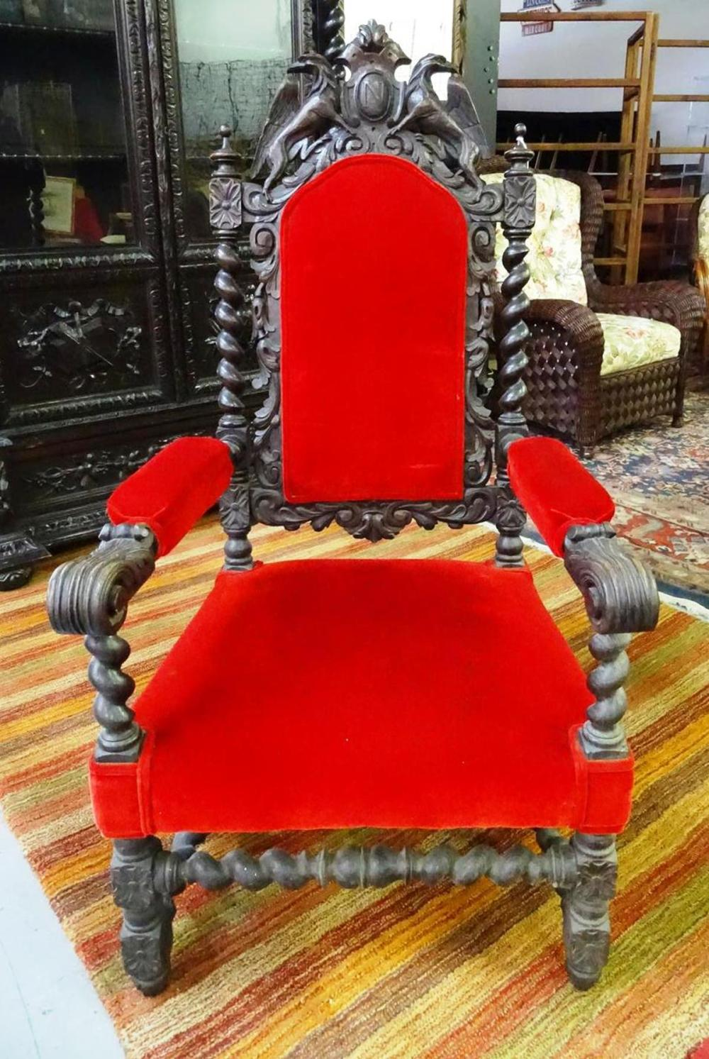 19TH C. FRENCH CARVED THRONE CHAIR
