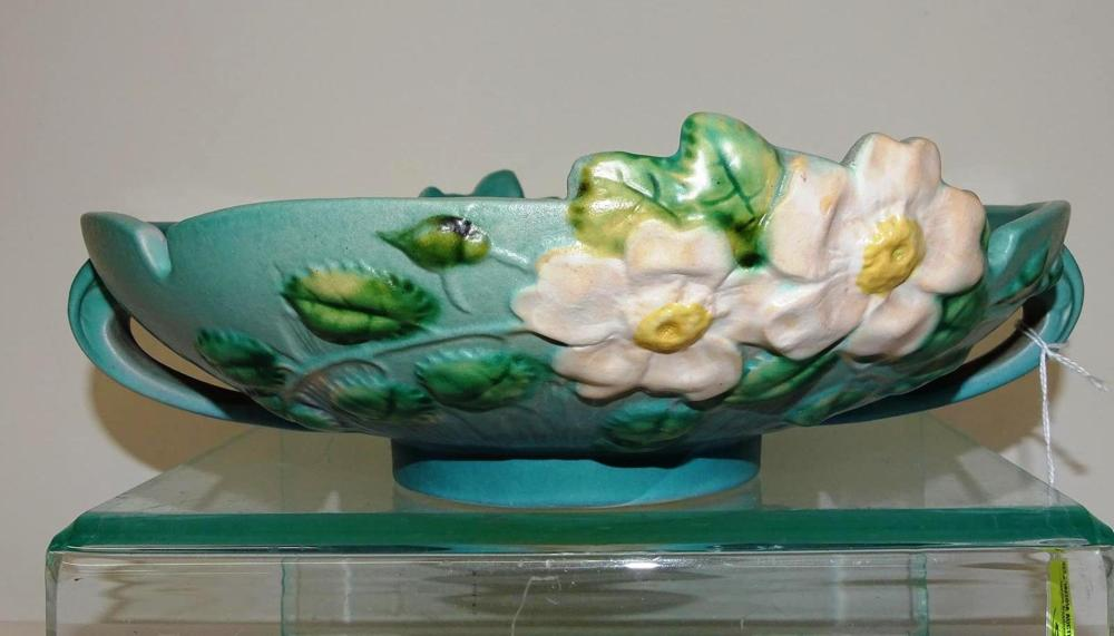 ROSEVILLE POTTERY #392-10 WHITE ROSE CONSOLE BOWL