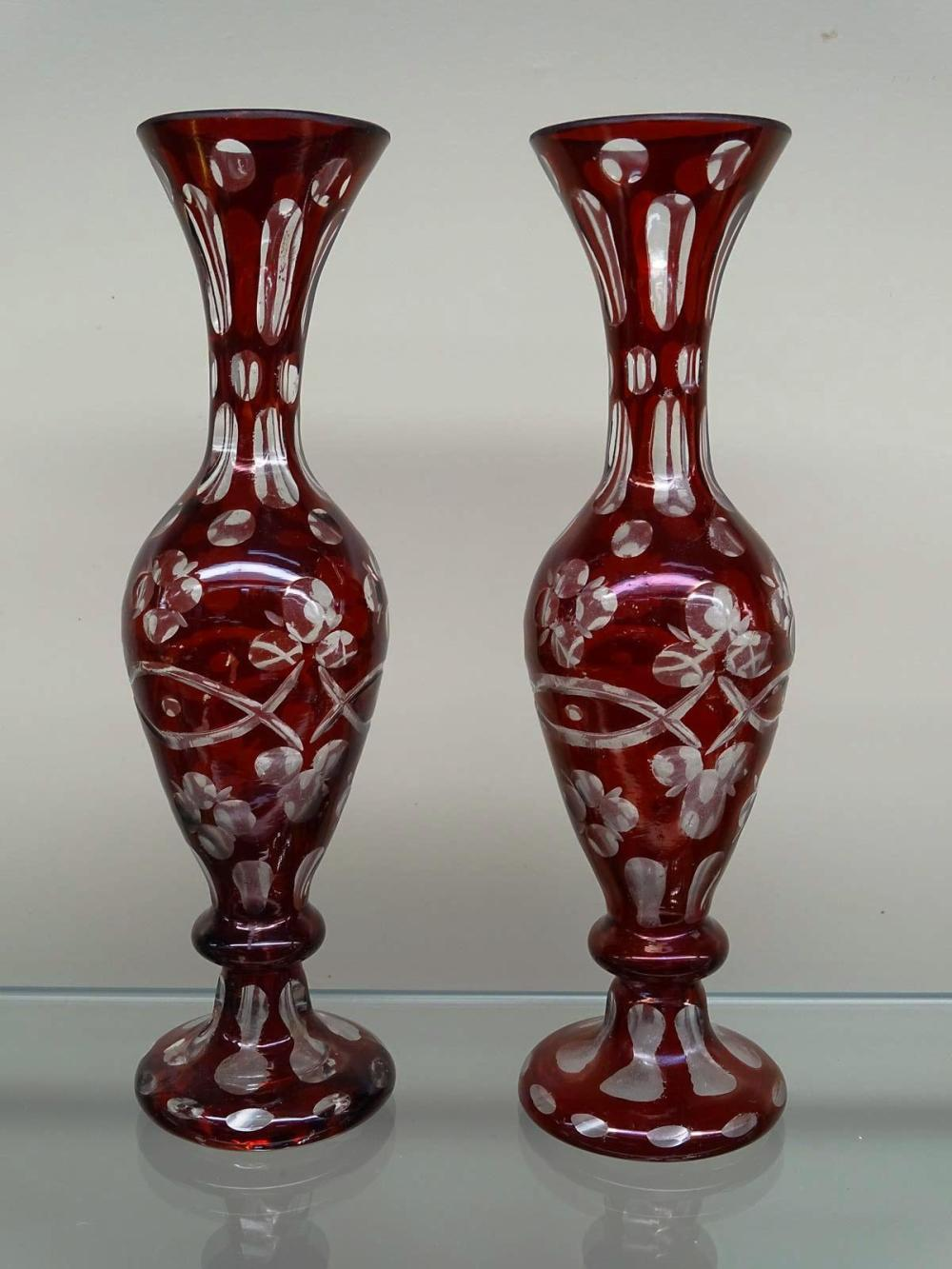PAIR OF BOHEMIAN CUT TO CLEAR VASES