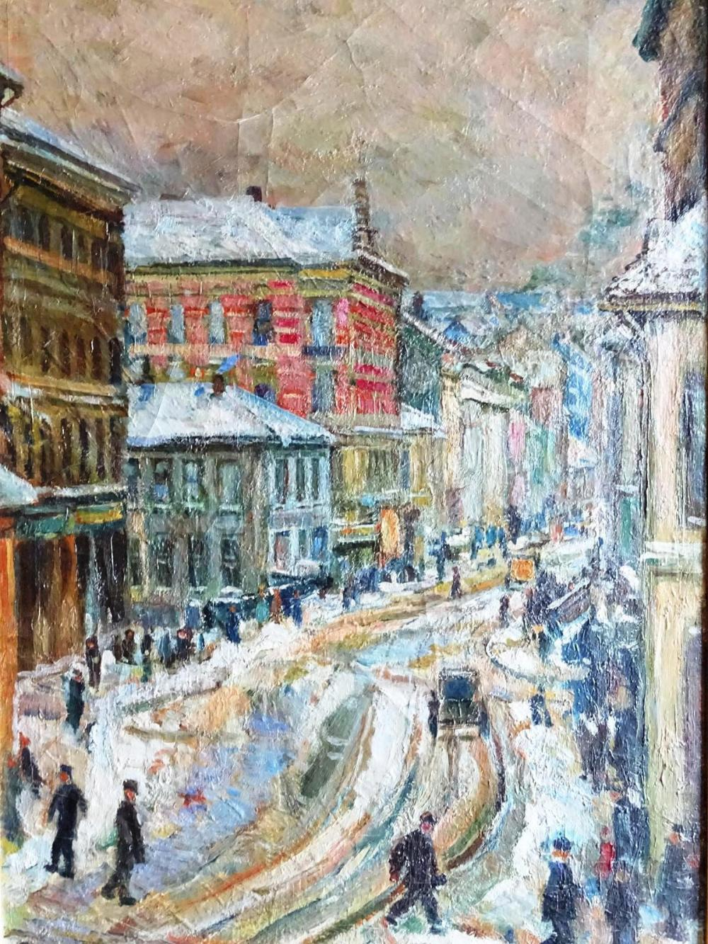 EARLY 20TH C. STREETSCAPE PAINTING