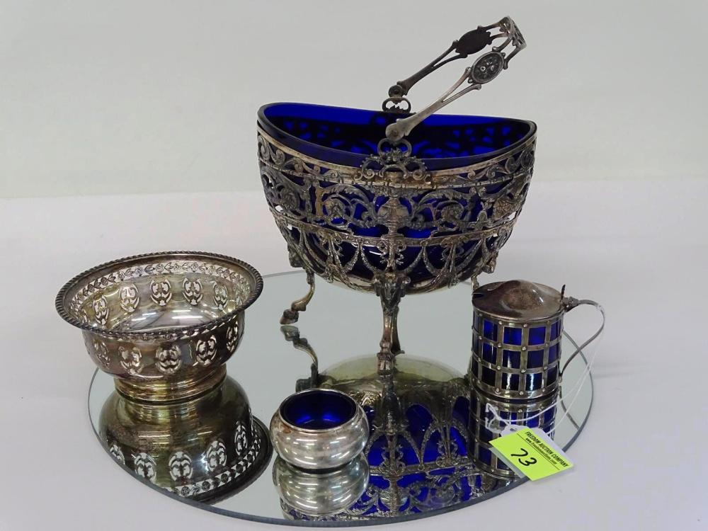 GROUPING OF STERLING SILVER/COBALT ITEMS