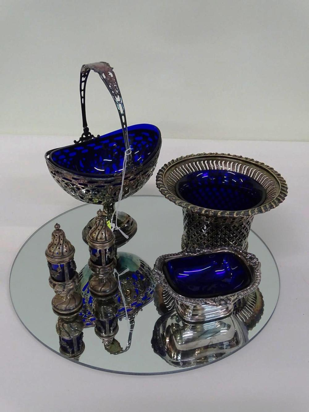 GROUPING OF SILVERPLATE/COBALT ITEMS