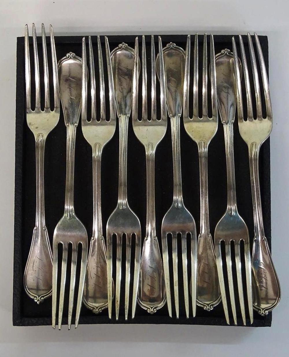 9 STERLING SILVER DINNER FORKS