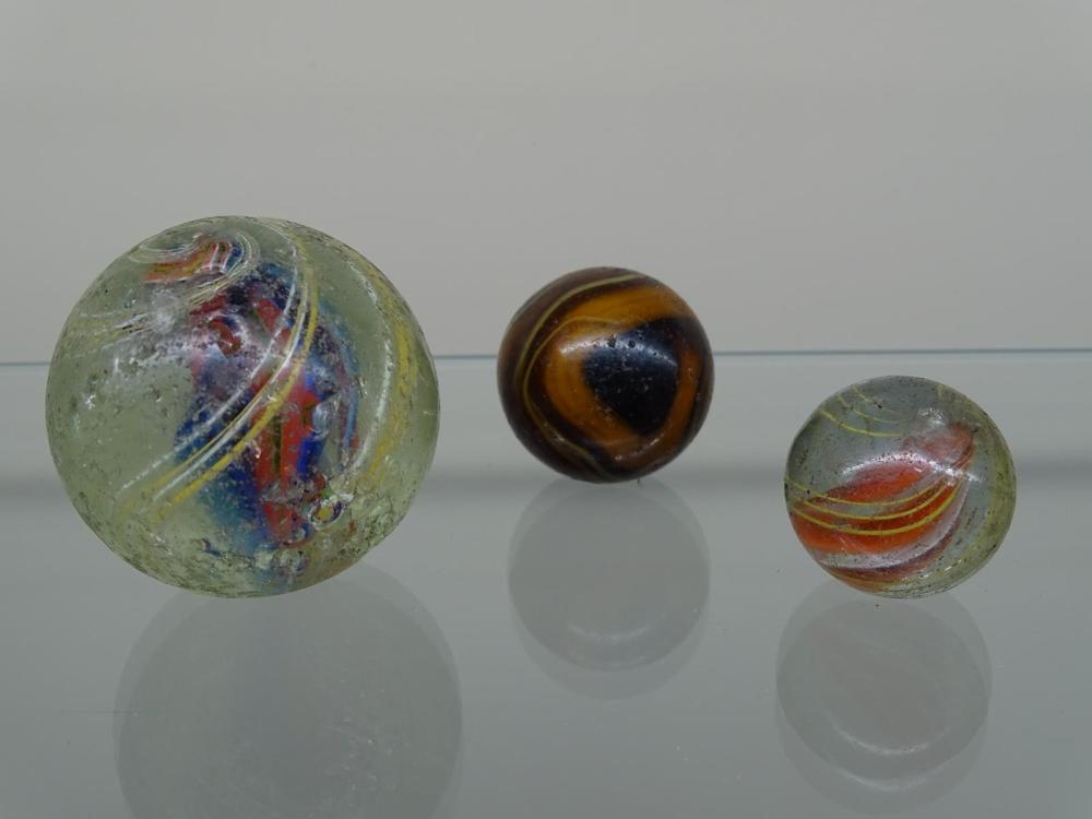TRIO OF ANTIQUE SHOOTER MARBLES