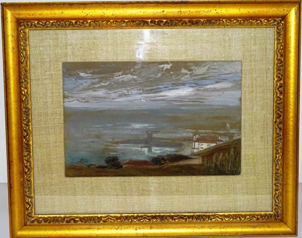 WATERSCAPE PAINTING, SIGNED, 1937