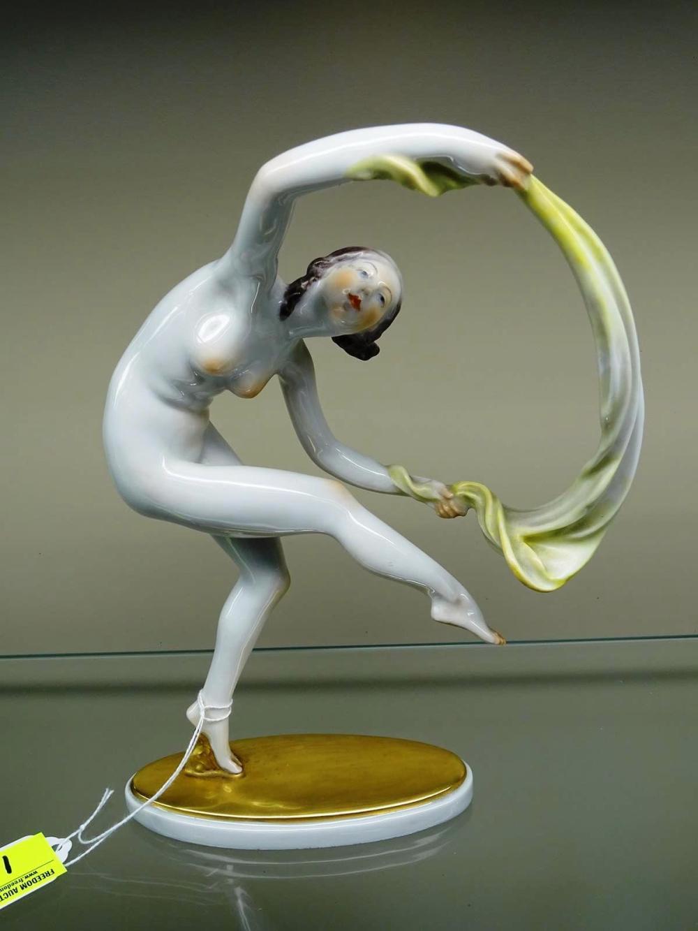 HEREND ART DECO NUDE DANCER