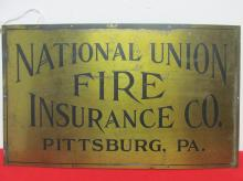 NATIONAL UNION FIRE INSURANCE CO. BRASS SIGN