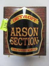 DETROIT ARSON SECTION FRONTPIECE PLAQUE