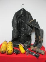 LEATHER FIREMAN'S COAT, TANKS, BOOTS