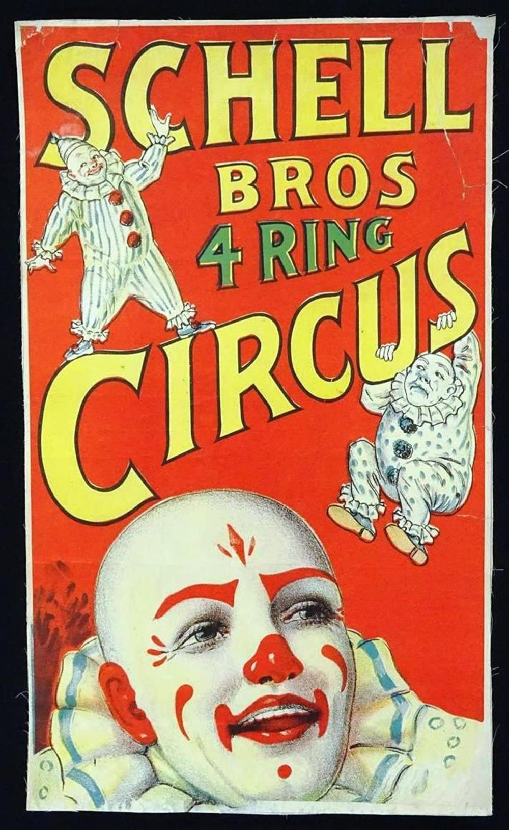SCHELL BROS. 4-RING CIRCUS POSTER
