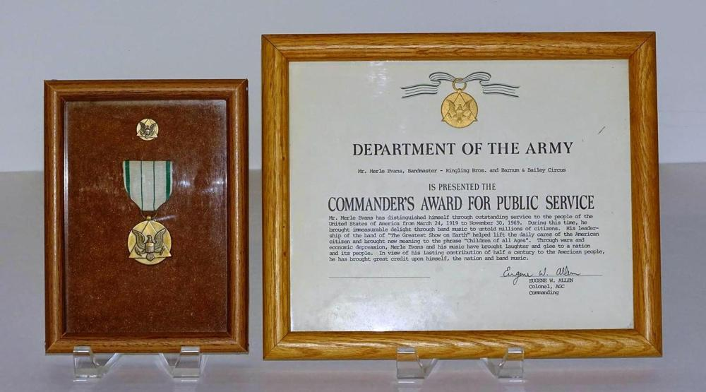 MERLE EVANS DEPT. OF THE ARMY AWARD