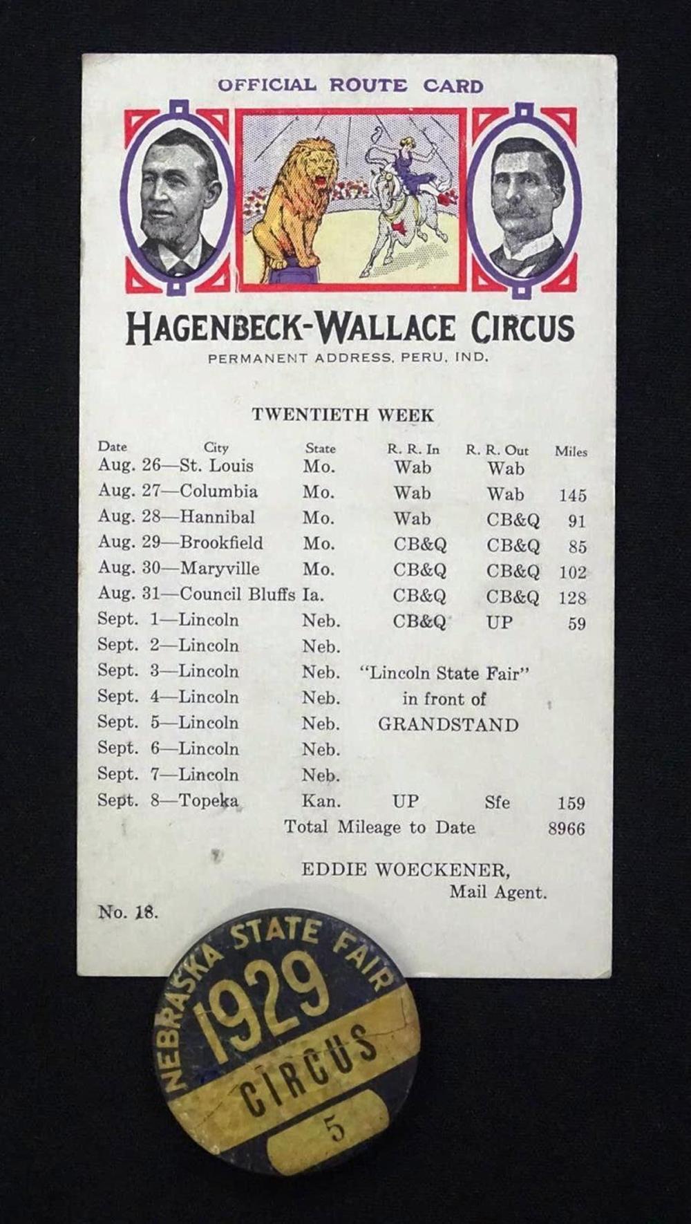 1929 HAGENBECK-WALLACE CIRCUS MEMORABILIA