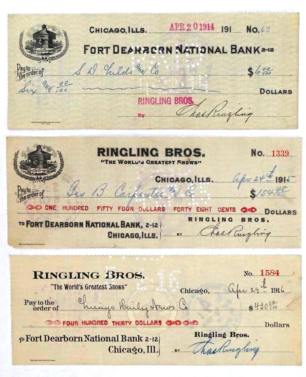 RINGLING BROTHERS CIRCUS SIGNED CHECKS