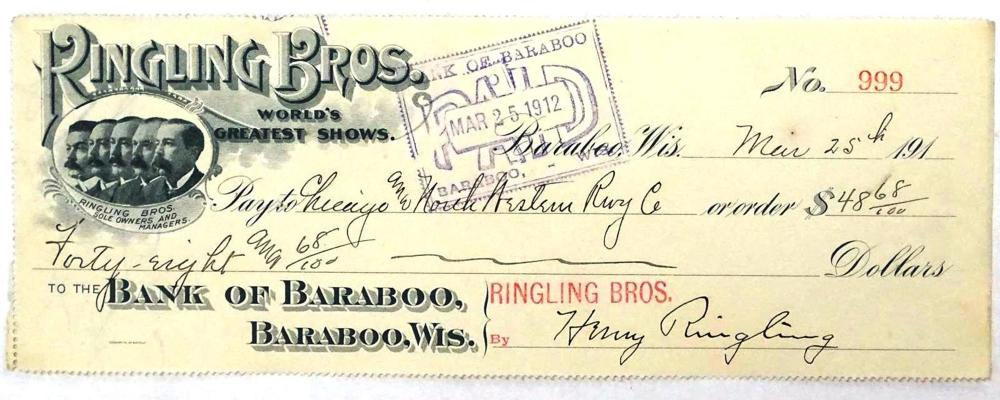RINGLING BROTHERS CIRCUS SIGNED CHECK