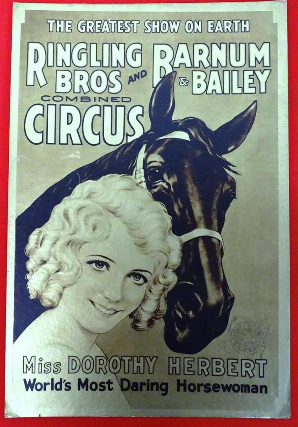 R.B.B.B. CIRCUS WINDOW CARD, 1933