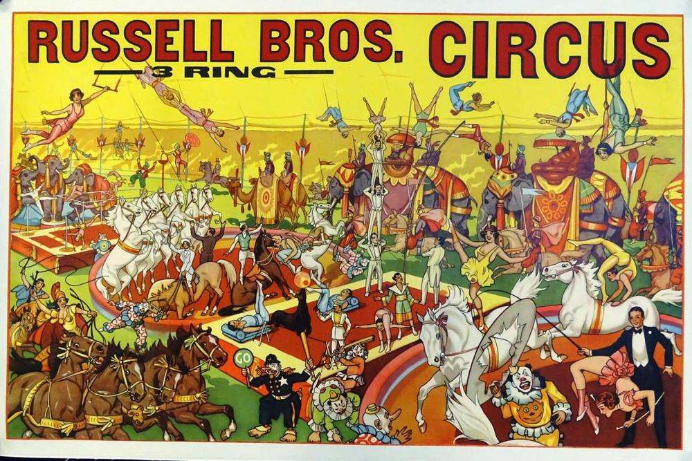 RUSSELL BROS. 3-RING CIRCUS POSTER