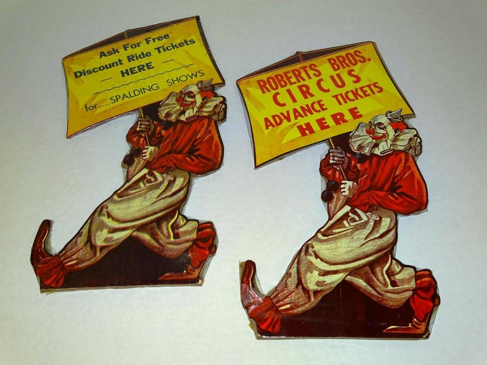 PAIR OF CIRCUS ADVERTISING COUNTER CARDS
