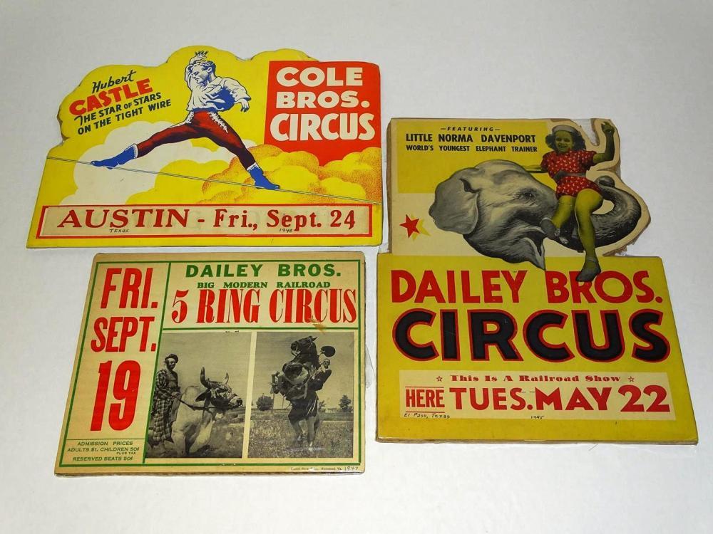 TRIO OF CIRCUS ADVERTISING COUNTER CARDS