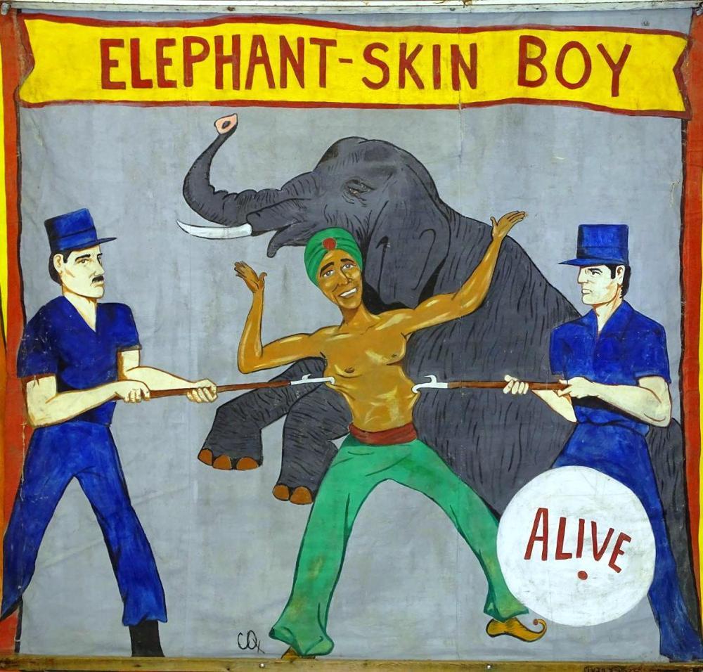 ELEPHANT-SKIN BOY SIDESHOW BANNER