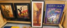 4 JAZZ/MARDI GRAS NEW ORLEANS CONTEMPORARY ART PIECES