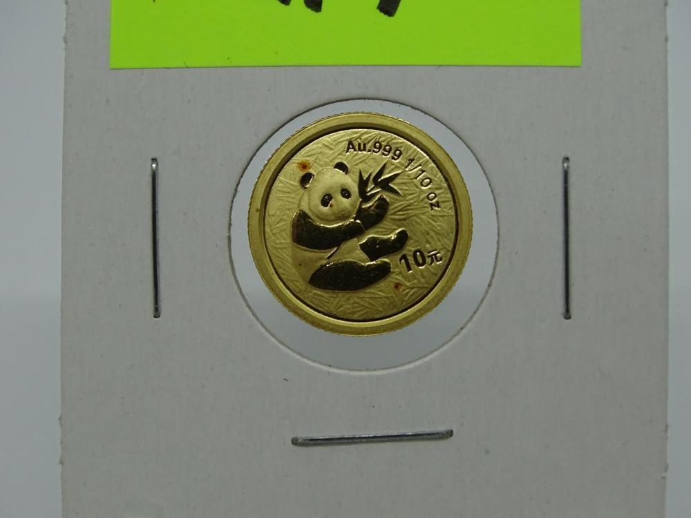 2000 China 1 10th Ounce Gold Panda Coin
