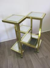 GOLD-CHROME/MIRRORED ROLLING SHELF