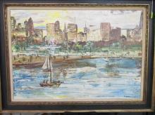 ALLEN STRINGFELLOW (ATTR.) CHICAGO SKYLINE ART PIECE