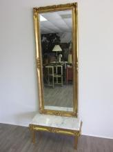 GILT MIRROR WITH MARBLE TOP TABLE