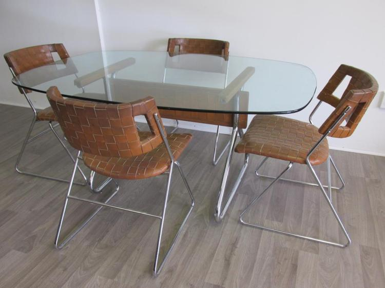 Chromcraft woven leather dining table chairs - Chromcraft dining room furniture ...