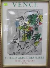VENCE FETES DE PAQUES 1954 FRAMED POSTER