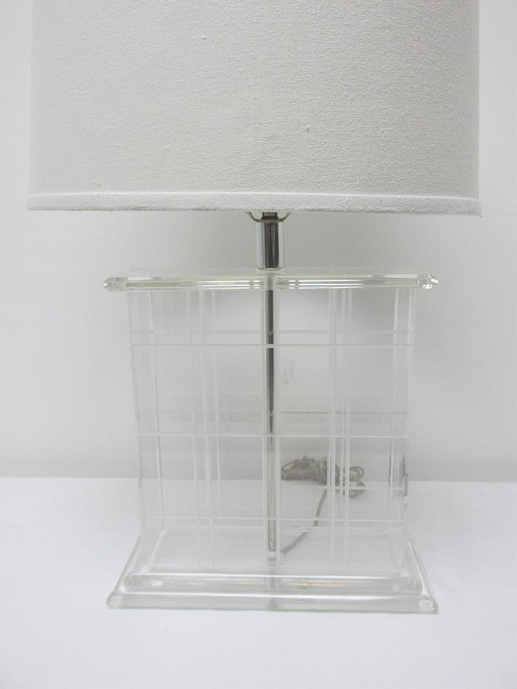 Lucite grid design table lamp for Table grid design