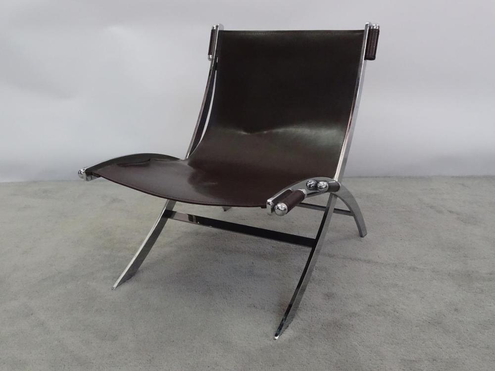 CHROME AND LEATHER SLING CHAIR