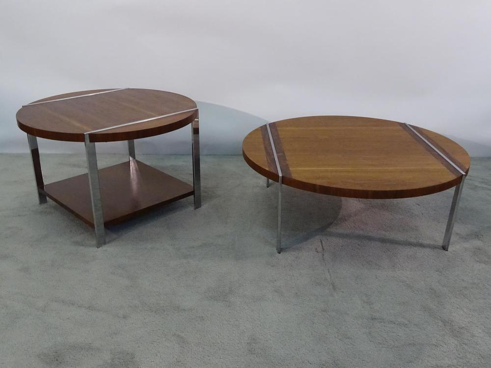 PAIR OF LANE CHROME/WALNUT TABLES