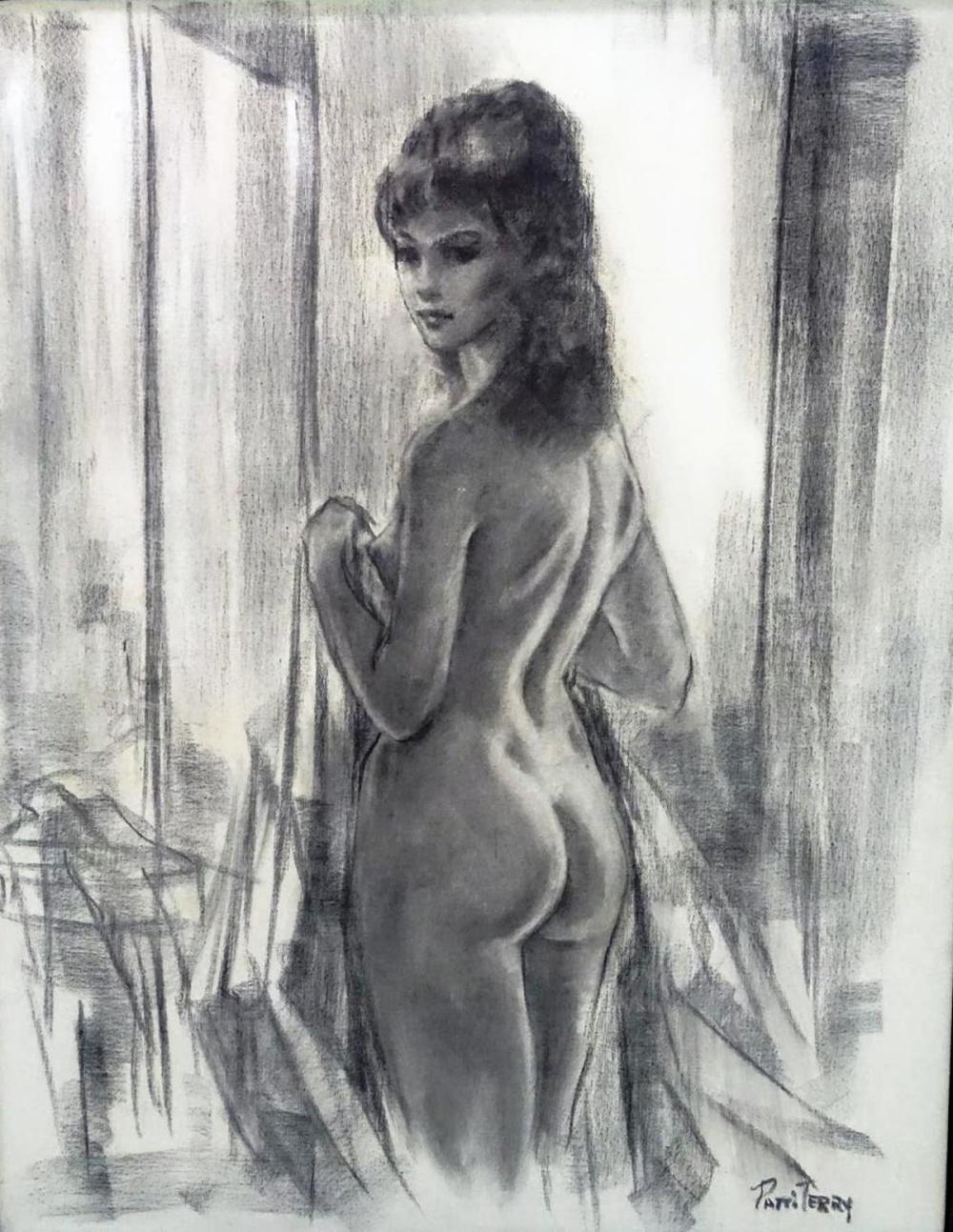 PATTY TERRY CHARCOAL OF NUDE, 1960'S.