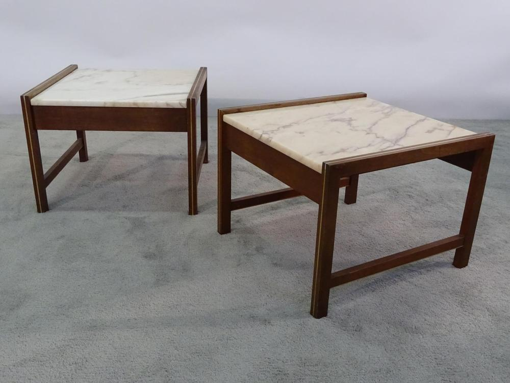PAIR WALNUT AND MARBLE TOP TABLES