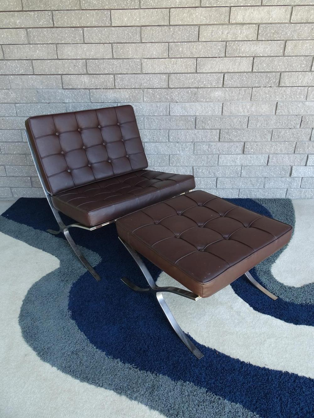 BARCELONA STYLE LOUNGE CHAIR AND OTTOMAN