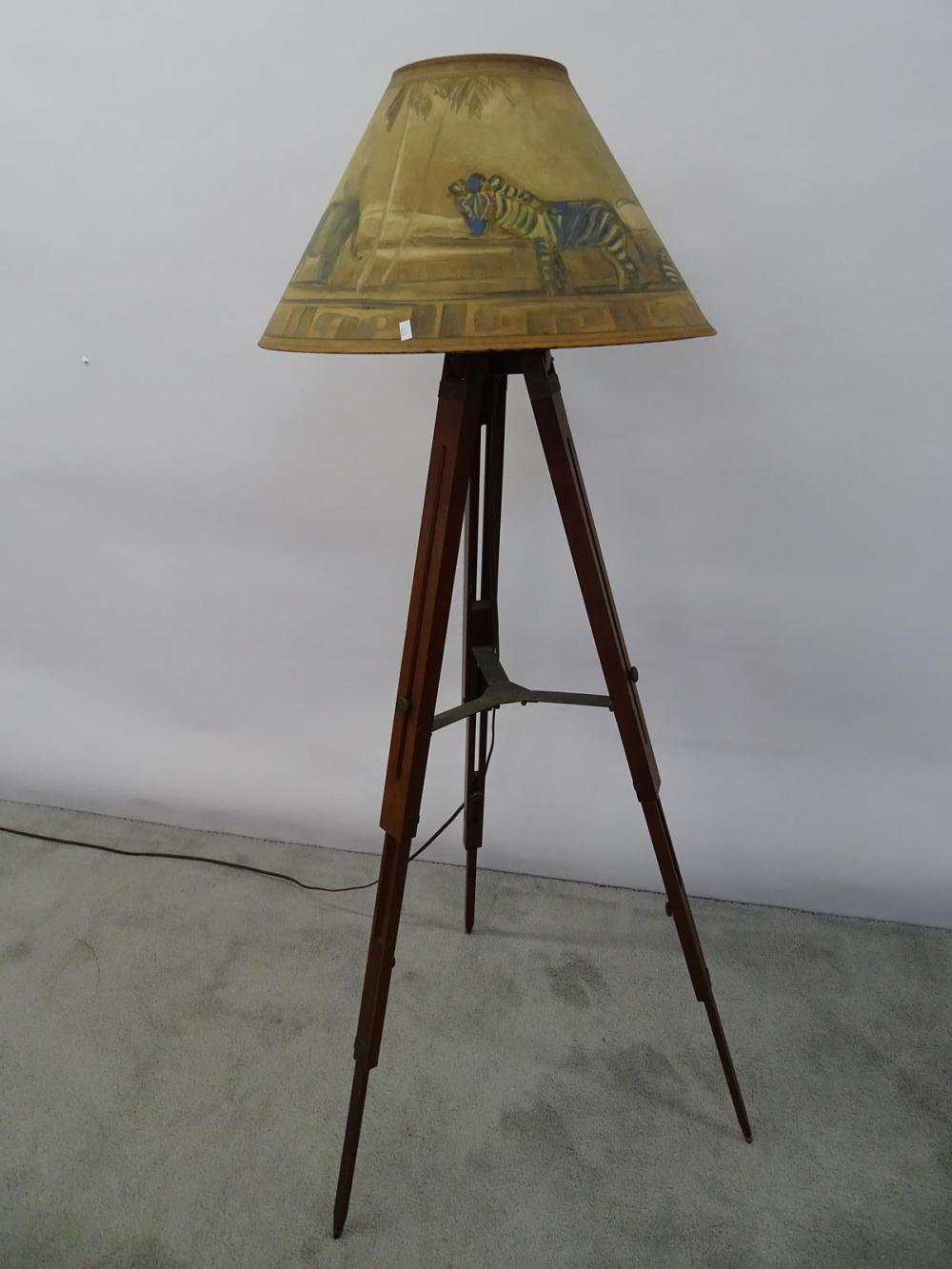 TRIPOD FLOOR LAMP WITH DECORATED SHADE