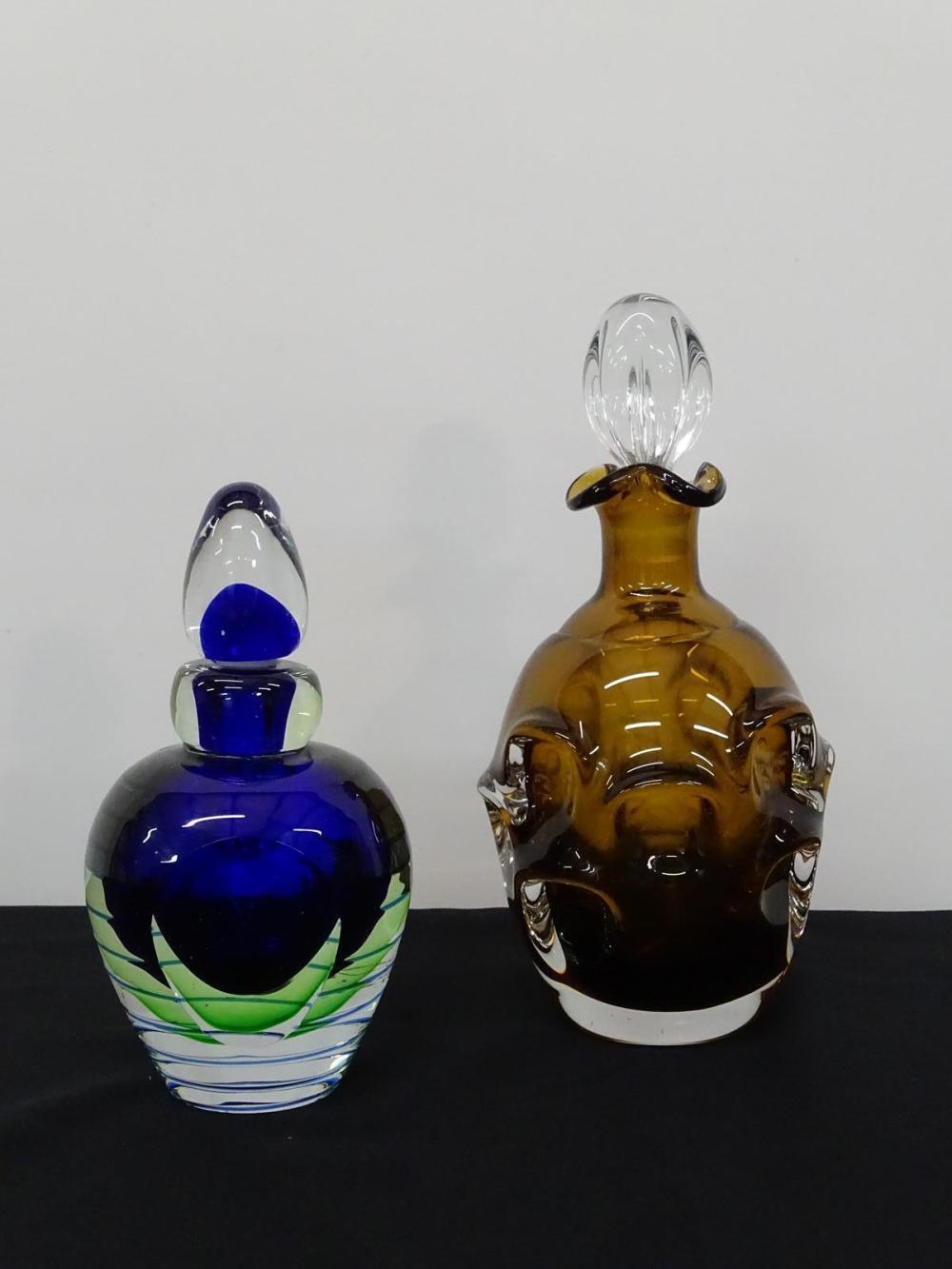 PAIR MURANO ART GLASS DECANTERS