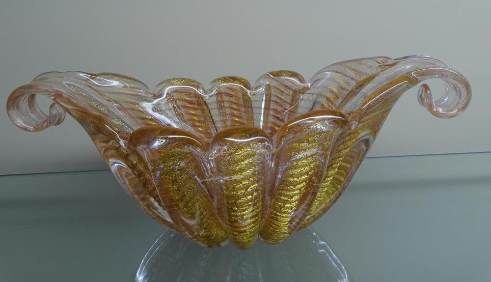 BAROVIER & TOSO MURANO GOLD AVENTURINE ART GLASS BOWL