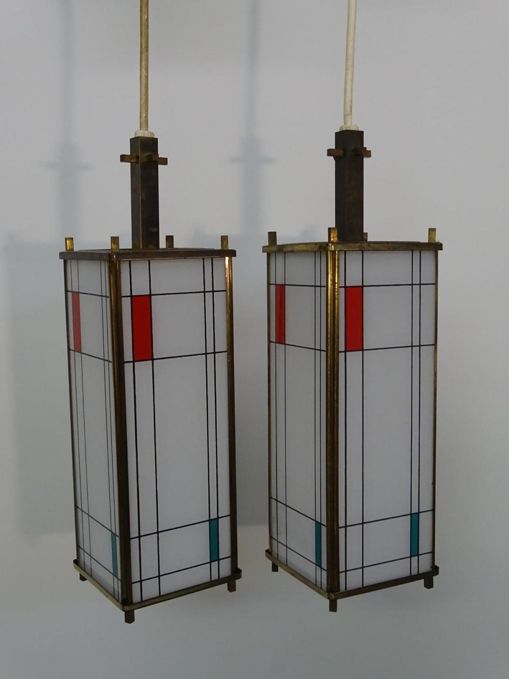 PAIR FRANK LLOYD WRIGHT STYLE PENDANT LAMPS