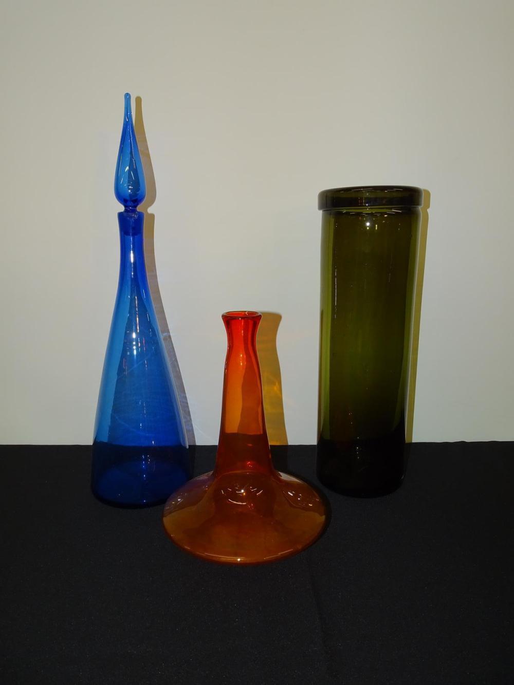 TRIO OF ART GLASS