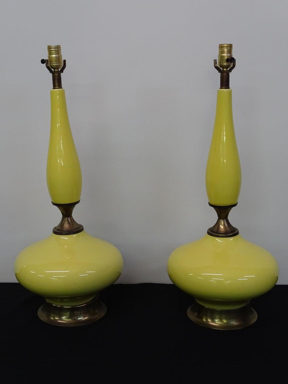 PAIR VINTAGE YELLOW CERAMIC TABLE LAMPS