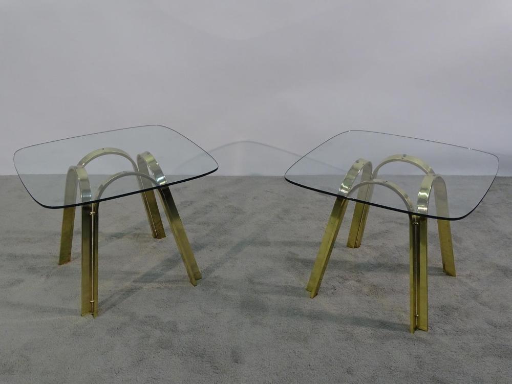 PAIR MILO BAUGHMAN (ATTR.) BRASS/GLASS END TABLES