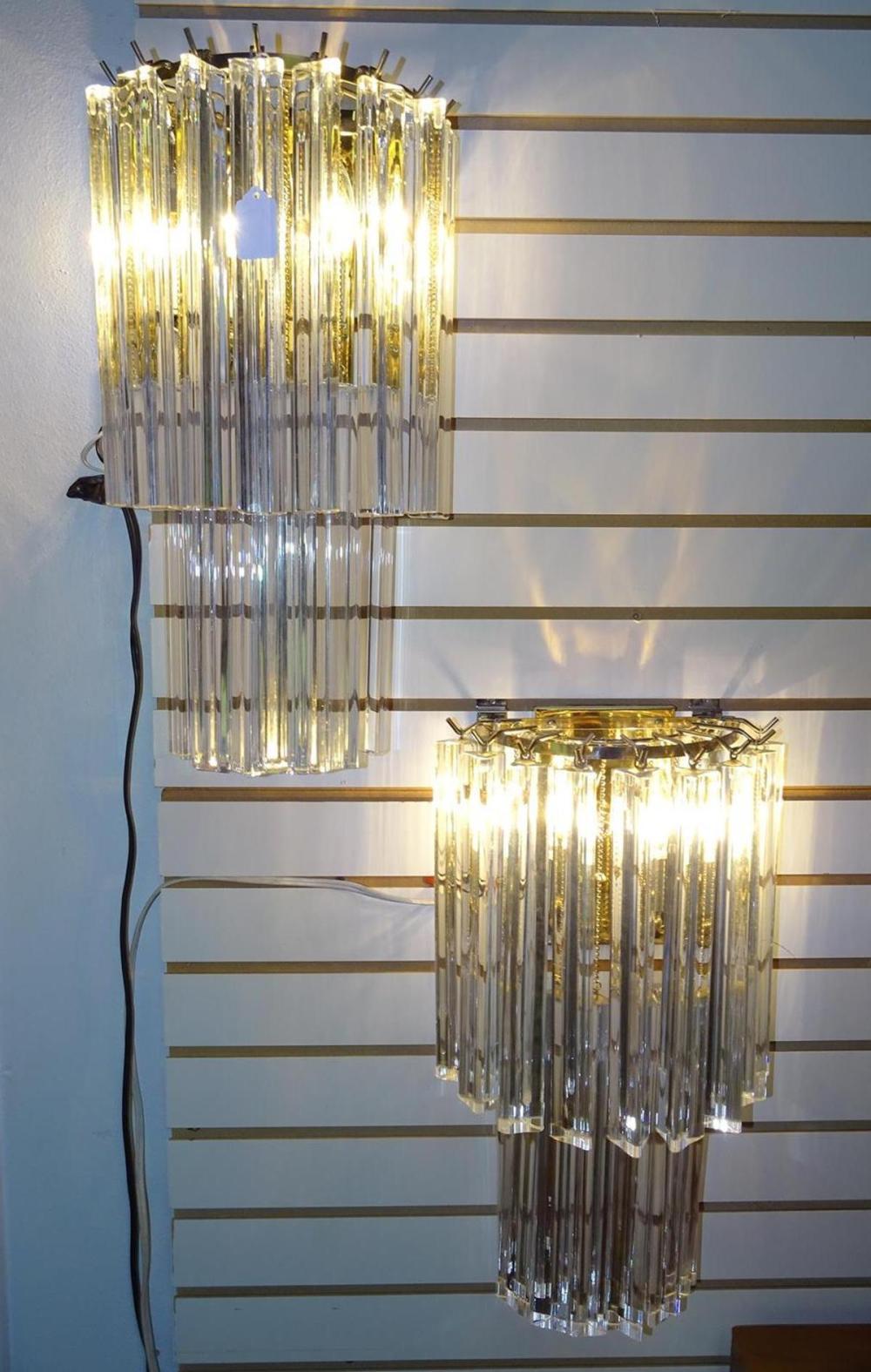 CAMER MURANO GLASS PRISM LIT SCONCES