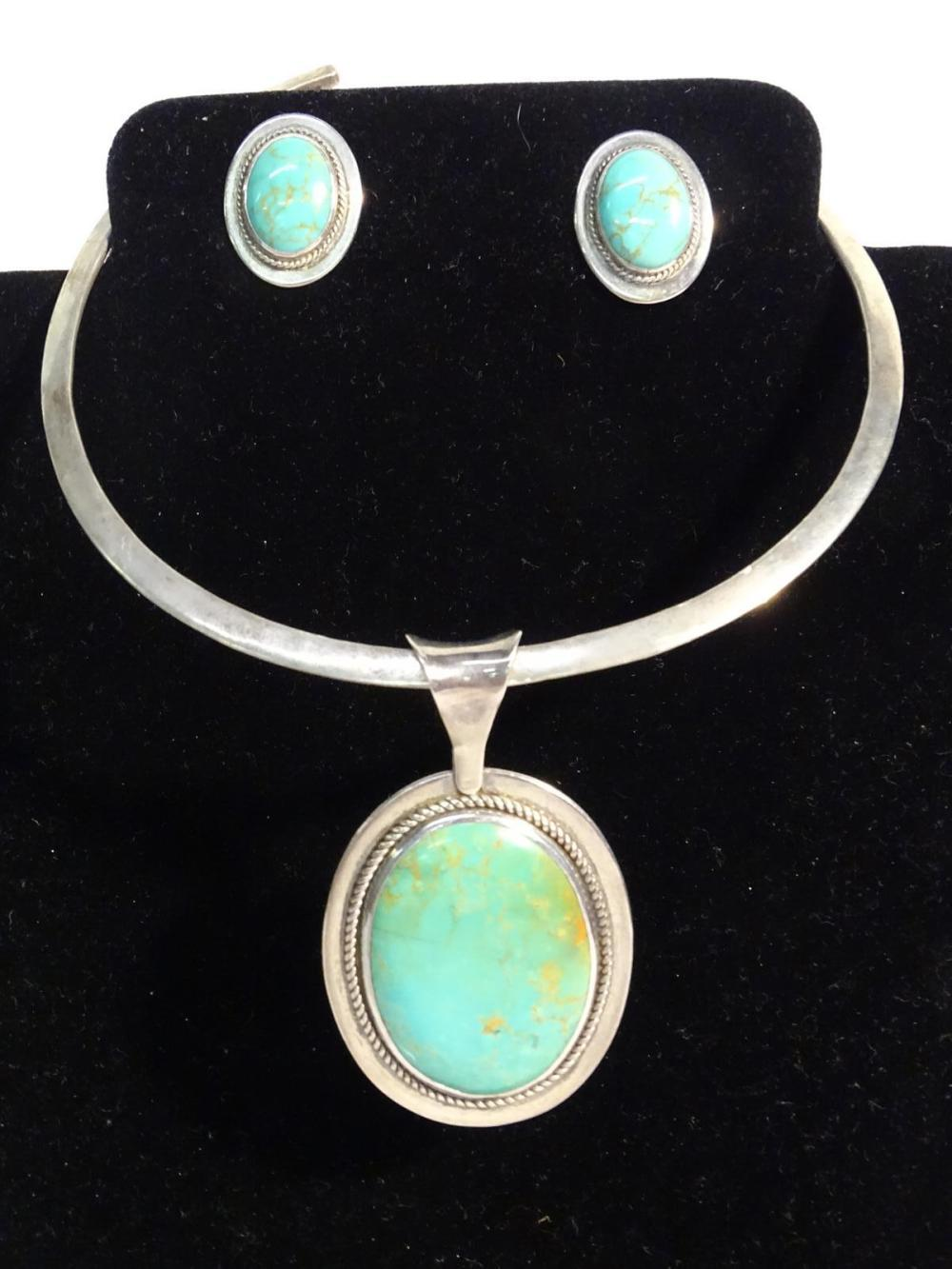 TURQUOISE/STERLING SILVER NECKLACE, EARRINGS