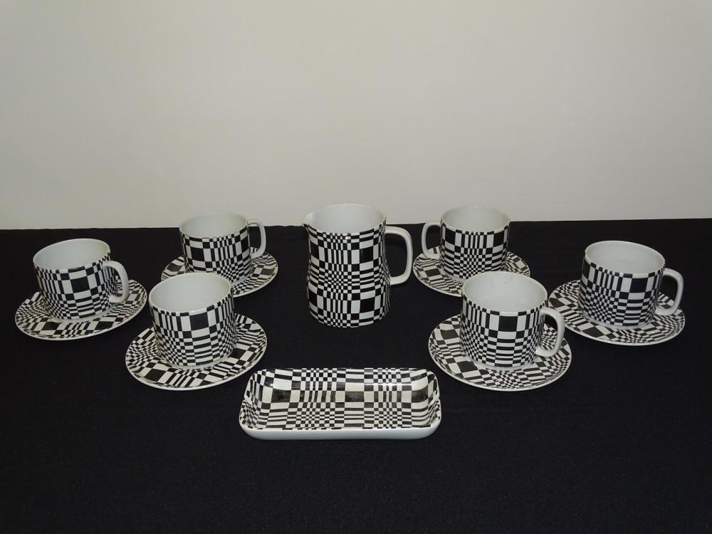 FRANCO POZZI OP ART CERAMIC CUPS/SAUCERS