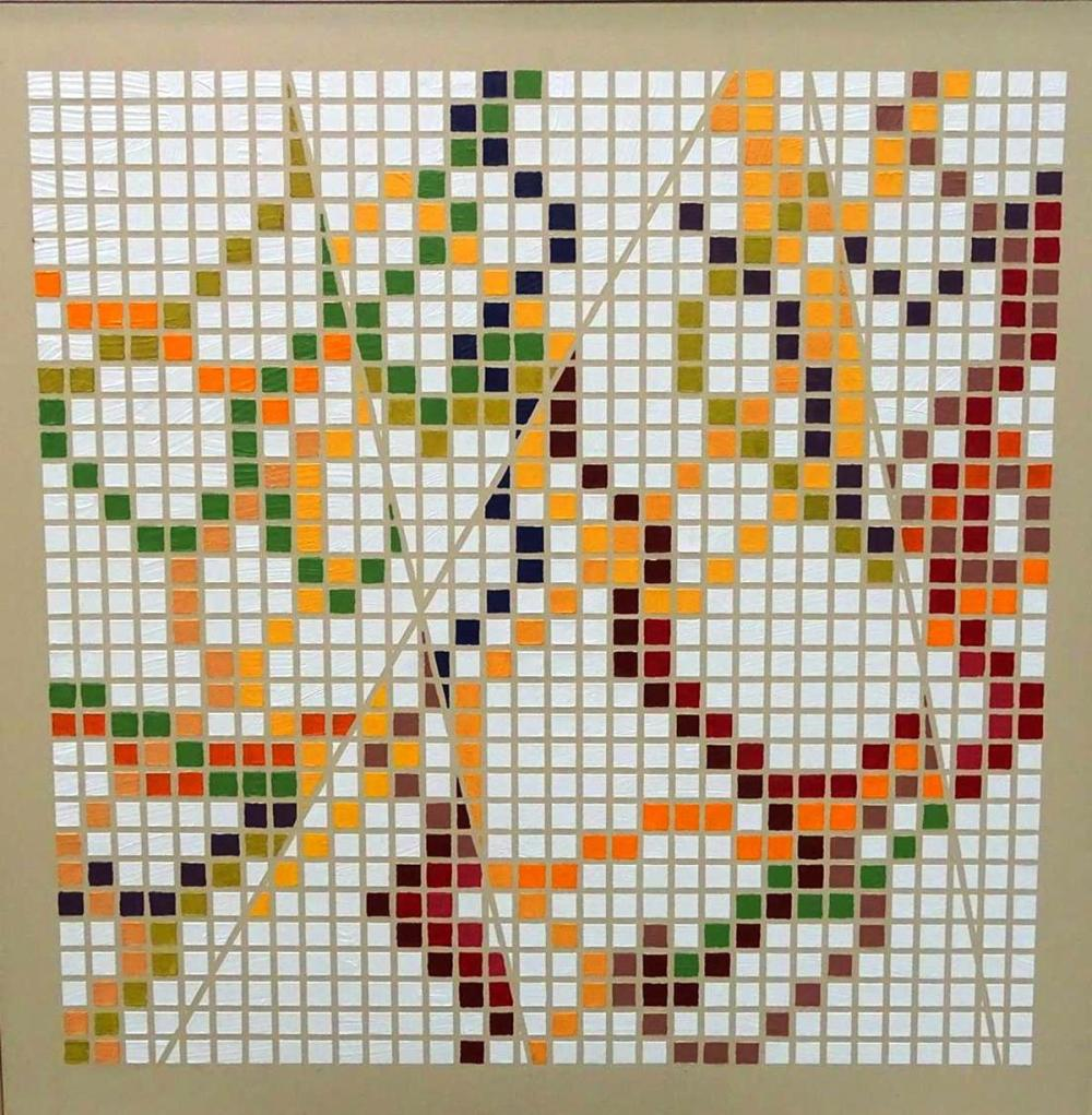 ABSTRACT MOSAIC STYLE OIL ON CANVAS PAINTING