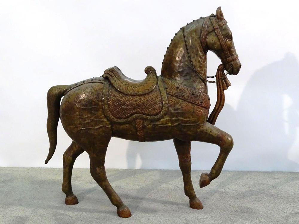LARGE COPPER/BRASS CLAD FIGURAL HORSE