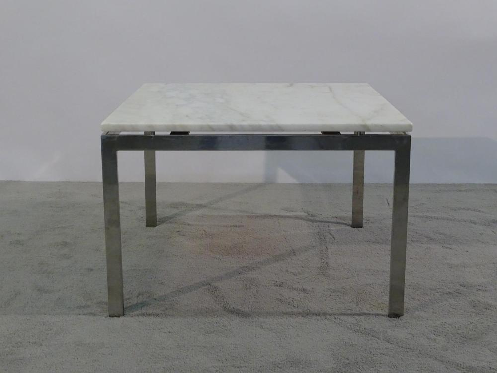 NICOS ZOGRAPHOS (ATTR.) CHROME/MARBLE SIDE TABLE
